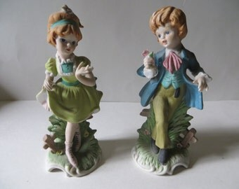 FBIA Figurines Boy With Rose Girl With Ponytail