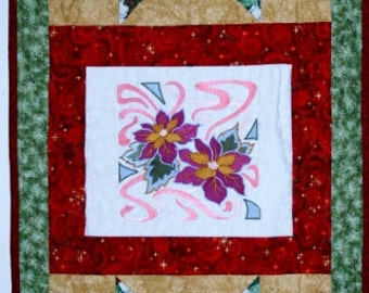 """Christmas Table Runner. Cotton Fabric, Size 20"""" x 50"""", Home-made, Embroidered and Pieced. Multi-color,"""