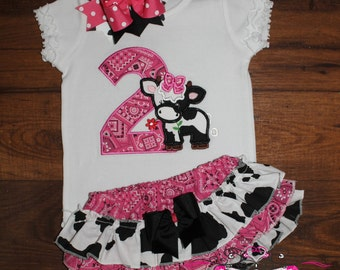 Pink Farm Cow Ruffled Bloomers Birthday Outfit