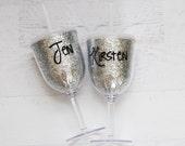 glitter wine glass // bac...