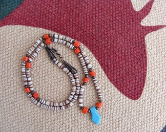 Vintage Southwestern Style Heishi & Coral With Turquoise Necklace