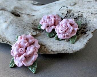 Lampwork Rose Pendant and Lampwork Roses Earrings - Set of Lampwork Jewelry, Handmade Lampwork Necklace, Lampwork Flower Earrings, Pink Rose