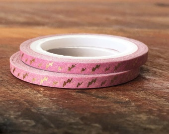 Washi Tape Thin / Skinny Gold Foil Pattern and Pink 3mm, Metallic Gold Stripe, Gold Shimmer, Gift Wrap, Packaging Supplies, Craft supplies