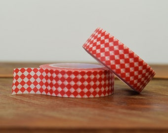 Washi Tape Red and White PolkaCheck Dots 15mm, Red and White Checkerboard, Supplies