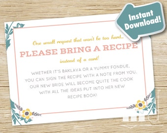 Recipe Request Card - Once Upon a Time Bridal Shower, Fairytale Bridal Shower Request Card, Wedding, Storybook Stock The Kitchen, PRINTABLE