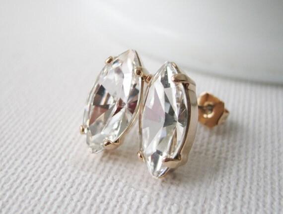 Bridesmaid Earrings Rose Gold Crystal Stud Earrings Art Deco Wedding Jewelry Crystal bridal Jewelry Navette Swarovski CRYSTALLIZED Elements