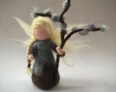 Pussy willow flower fairy.Wet-felted. Waldorf. Felted.flower child.