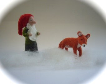 Tomten and fox . Hand-felted. Wet  felted .Waldorf
