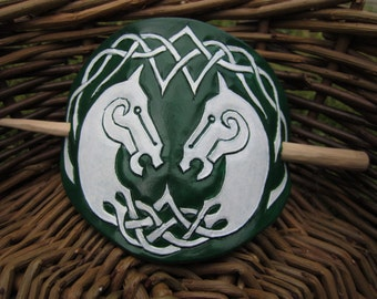 Celtic Horse Leather Hair Barrette