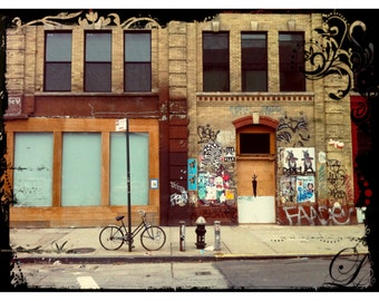 Bicycle, Photography, New York City, Graffiti, Brown, Hydrant, Print, NYC, FREE SHIPPING!