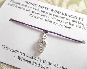 Music Note Wish Bracelet - Wish Bracelet - Treble Clef Bracelet - Party Favor - Wishing Bracelet - Music Teacher Gift - Music Lover