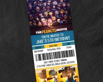 Peanuts, Snoopy, Charlie Brown Movie Themed Birthday Party Invitation. Customizable Movie Invitation