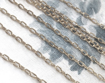 Matte Silver Chain, Small Cable Chain, Long Cable Chain, 4mm, 4FT