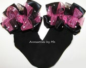 Glitzy Bow Socks Hot Pink Black Organza Embellished Ribbon Girls Baby Toddler Accessory Wedding Pageant Party Birthday Boutique M2M Custom