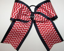Big Cheer Bow Red Blue Ponytail Holder Ribbons Girls Hair Accessories Volleyball Softball Baseball Football Soccer School Spirit Sports Team