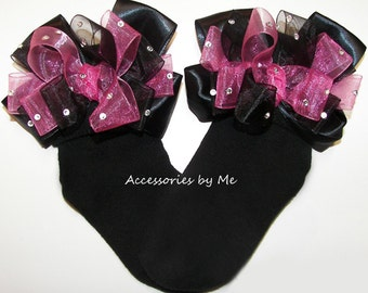 Sparkly Bow Socks, Hot Pink Black Socks, Organza Rhinestones Sock, Baby Girls Toddler Glitz Pageant Socks, Sparkly Handmade Custom Bow Socks