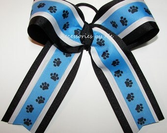 University of Kentucky Cheer Bow, Carolina Panthers Blue Black Paw Print Ribbon Bow, Colts Blue Cheerleader Bow, Blue Paw Softball Bulk Bows