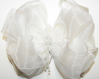 Pageant Hair Bow, Light Ivory Off White Hairbow, Organza Satin Ribbon Clip, Flower Pearl Bow Barrette, Baby Girls Clips, Communion Hairbows