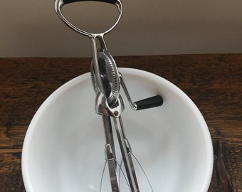 Vintage Flint Egg Beater Hand Mixer with Backlite Black Handle - Farmhouse Decor