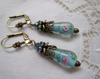 Pale Blue Pink Lampwork Bead Dangle Earrings Teardrop Antique Brass Filigree AB Rhinestone Rondelle Flower Leaf Victorian Shabby Sweet