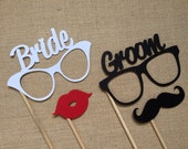 Bride and Groom Glasses Photo Booth Props . Wedding Photo Booth Props . Bride and Groom Eyeglasses . Mustaches and Lips . Set of 4