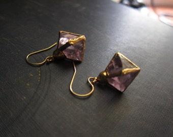 Electroformed Fluorite,Raw Gemstone Earrings, Gold Fluorite Earrings,Gemstone Hoops,Flourite Earrings,Gold Crystal Hoops,Pale Green Fluorite