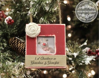 First Christmas as Grandma and Grandpa Ornament Personalized GIFT for Grandparents New Baby