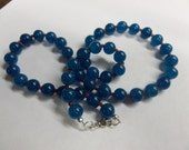 8mm Blue Apatite  Necklace With Red Agate Accent Stones AP30