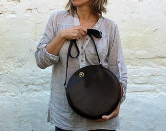 Black leather bag, cross body round bag, leather crossbody bag, circle bag FREE SHIPPING