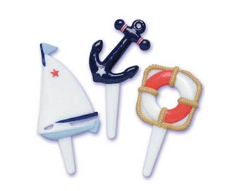 12 Nautical Puffy Sailboat Anchor LifeSaver Cupcake Picks - Cake Toppers - Baking Party Decoration Decor Supplies