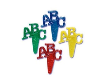 12 ABC Glitter Cupcake Topper Picks - Back To School - Baking Candy Making Party Supplies