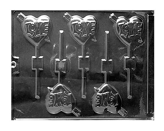 Love Arrow Heart Chocolate Sucker Lollipop Molds Valentines Day