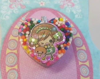 Girl Necklace, Heart Pendant, Kawaii girl Necklace, Kawaii Necklace, chibi  Jewelry, Resin hrary Pendant, Kawaii girl,  candy necklace, Kids