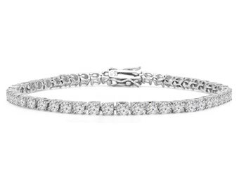 3 CTW Classic Round Cut CZ Cubic Zirconia Tennis Bracelet in .925 Sterling Silver - 7.25 Inches