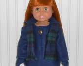 Navy Coat for 18 inch Girl Doll Clothes Fleece Jacket with Mittens and Scarf American Doll Clothes