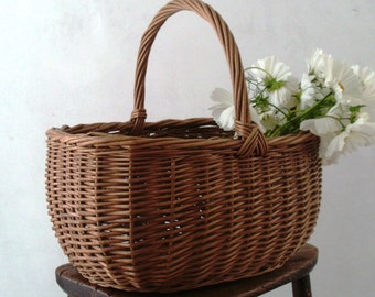 Super deep vintage woven wicker basket - shopping or decorative