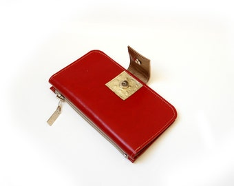 Gold & Red Women's Leather wallet ,Handmade Wallet ,Iphone wallet ,Leather Iphone 5 wallet