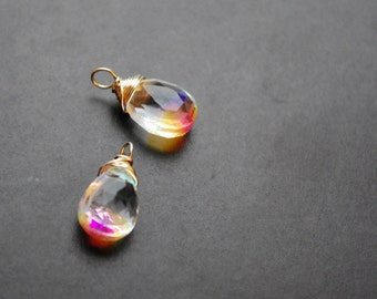 RAINBOW MYSTIC QUARTZ wire wrapped gemstone Interchangeable Earring drops, dangles, charms, Pair of genuine faceted briolettes