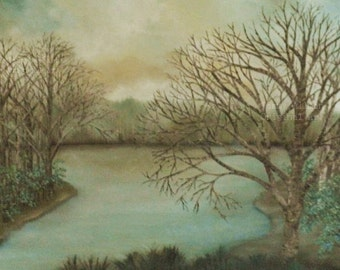 "Fine Art Custom Original Oil Painting, ""Misty Lake"", Birch Tree Painting"