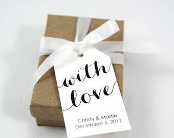 With Love Tag - Wedding Favor Tag - Shower - Wedding Favors - Baptism Tags - Custom Tag - Custom Wedding Tags - Personalized Tags - LARGE