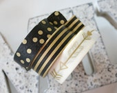 Gold/Black Stripe, Polka dot, Gold Arrow Washi Tape Set of 3