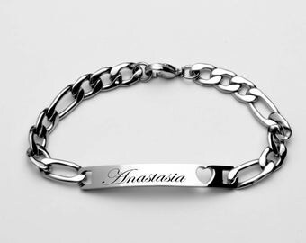 Stainless Steel Engraved Silver Cut-Out Heart Ladies & Girls ID Bracelet