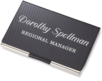 Engraved card holder etsy personalized carbon fiber business card holder customized credit card case engraved corporate office gift reheart Gallery