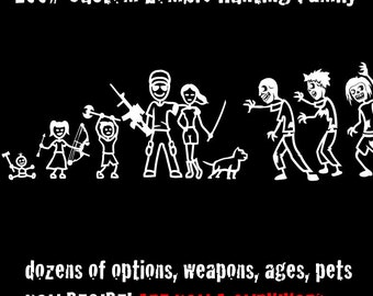Zombie Hunting Family Decal 2017 NEW DESIGN