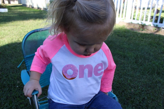 Donut ONE or TWO Baseball Tee Birthday Shirt