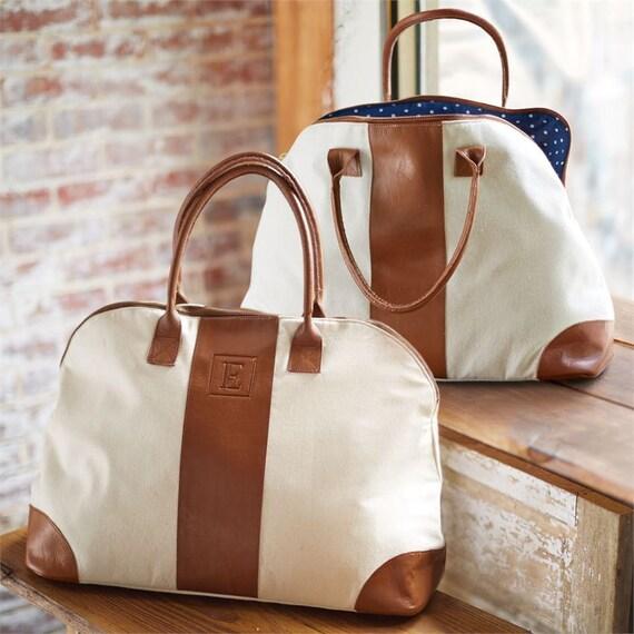 Genuine Leather Embossed Weekender Bag