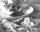 Simplicity - Original Fine Art Photograph (home decor, tea time, tea cup, feminine, lace, rose)