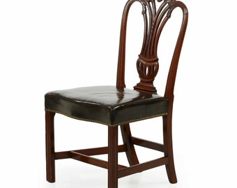 English Georgian Period Carved Mahogany Antique Side Chair, 18th Century, 609XSL103