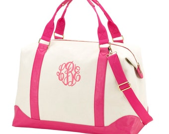 Canvas Weekender with Hot Pink Set with Monogram Weekender and Cosmetic Bag for Wedding, Bridesmaids, Graduation, Bridal Shower, Mothers Day