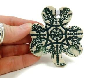 Shamrock Ornament, Ireland Decor, Celtic Thistle Ornament, Irish Housewarming, Celtic Knot Ornament, Green Clover, Irish Christmas Ornament